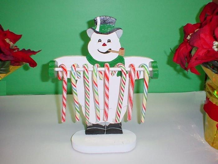 Wooden Snowman Candycane Holder