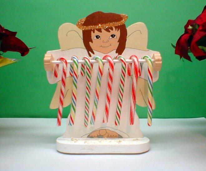Wooden Angel Candycane Holder