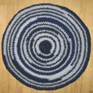 Crochet 32 inch round rag rug mat pad made from up cycled t shirts navy blue and grey