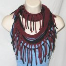 Tshirt scarf with fringe wear as a scarf cowl or long necklace black and crimson red