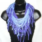 Tshirt scarf with fringe wear as a scarf cowl or long necklace purple on purple