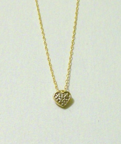 14k Gold Heart Pendant Necklace diamond accent yellow white new