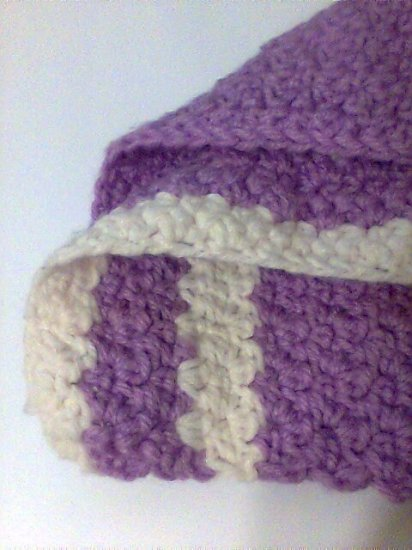 """Square 12"""" Crochet knitted cream lilac piece new"""