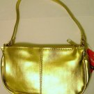 Sassy & Chic Bag handbag purse cosmetic travel shiny Gold Metallic faux leather  new