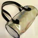 Sassy & Chic Bag handbag purse cosmetic travel Barrel Silver shiny Metallic faux Leather new