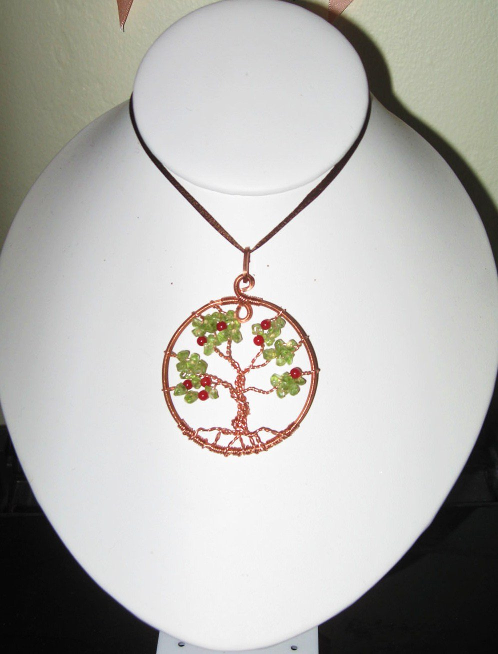 Tree of Knowledge Gorgeous Peridot Coral Pendant Copper Artisan handcrafted New