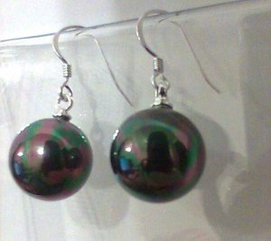 Black Pearl Earrings Sterling Silver 10mm freshwater Round dangle new