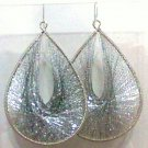 String Art Earrings XL Silver Gold plate wires dangle new