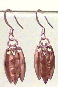 Copper Earrings dangle hammered metal glass new