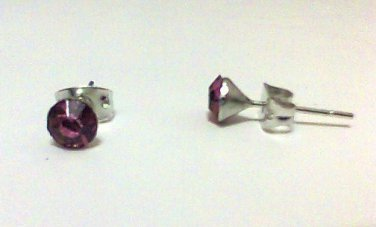 Pink Cyrstal earring studs 5 mm new