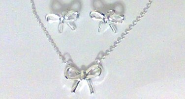 BOW Necklace Earrings Set Silver plate new