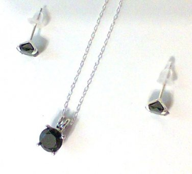 Black Spinel 3 carat Necklace + Earrings Set Sterling Silver pendant chain new