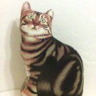 Patty Reed Tabby Cat Pillow stuffed toy print cat shaped throw bed collectible new