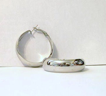 Hoop Earrings 40 mm rhodium plated new