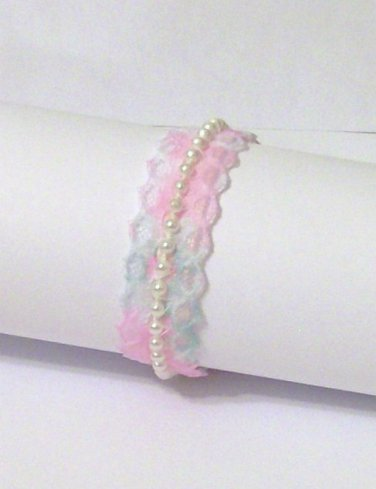 Bracelet Pearls & Lace pink white blue ribbon child adult faux pearl  new