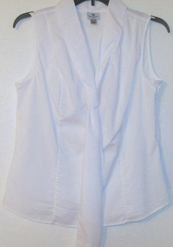 Worthington Blouse size Large tie bow top sleeveless white women