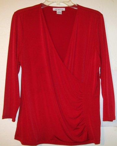Liz Claiborne Blouse size Large surplice top 3/4 sleeve red women
