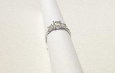RING White Topaz 2.25 ctw size 5.5 Three stone engagement wedding silver 925 new