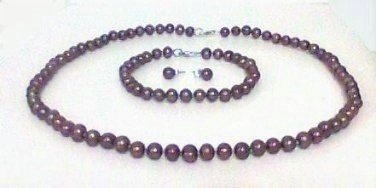 Chocolate freshwater Pearl Necklace Set bracelet earrings Sterling Silver new