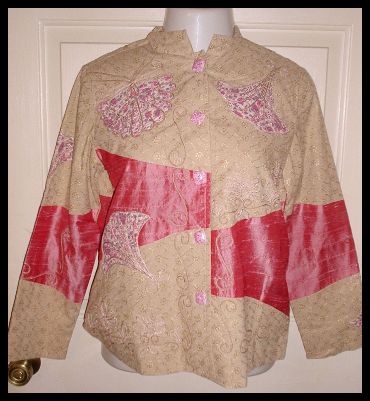 Indigo Moon Blazer Jacket Tapestry Patchwork Pink Taupe Size Small