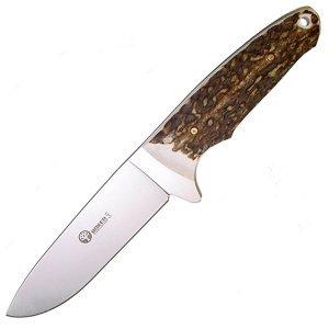 Fixed Blade, Genuine Stag Handle, Plain, Leather Sheath