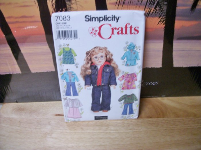 Doll Clothes Pattern for American Girl 18 inch dolls Simplicity #7083
