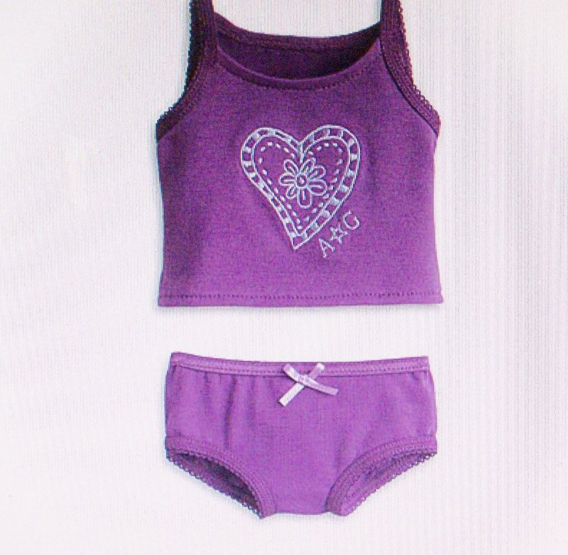 PURPLE TANK SET FOR AMERICAN GIRL 18 INCH DOLLS-AUTHENTIC AMERICAN GIRL
