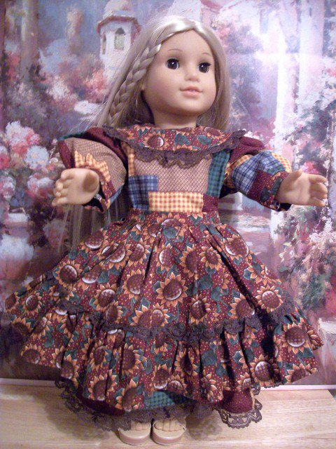 AMERICAN GIRL 18 INCH DOLL CLOTHES-SUNFLOWERS AND PATCHWORK STYLE APRON FARM DRESS