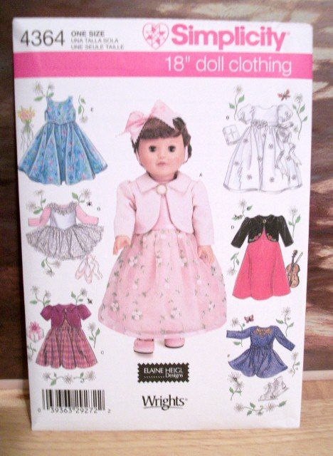 AMERICAN GIRL 18 INCH DOLL CLOTHES PATTERN-SIMPLICITY #4364
