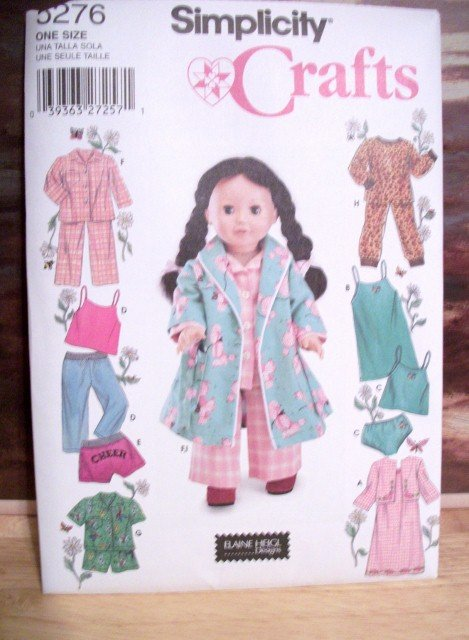 AMERICAN GIRL 18 INCH DOLL CLOTHES PATTERN-SIMPLICITY #5276