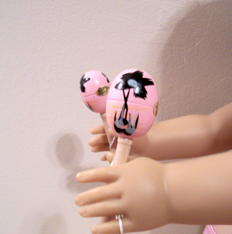 "AMERICAN GIRL 18"" DOLL ACCESSORY-PINK MARACAS"