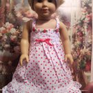 Red Hearts Nightgown for 18 inch American Girl dolls Fits My Life