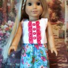 Blue Flowered Skirt set For American Girl 18 inch dolls