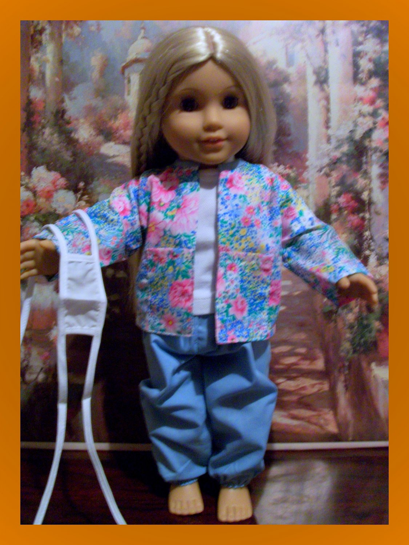 Blue Nurses Scrubs set For American Girl 18 inch dolls