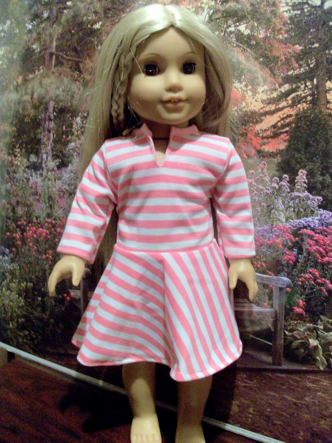 Pink Striped Rugby Style Dress for American Girl dolls