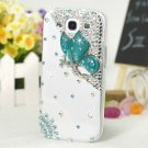 3D Butterfly Rhinestone Back Case for Samsung Galaxy S3 III i9300