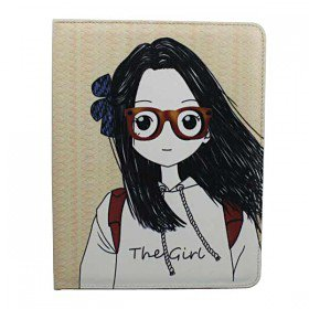3D Glasses Lover Boy and Girl Leather Case Smart Cover For The New iPad 3 Gift