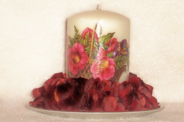 Hand Decorated Flowered Candle on Matching Decorated Plate