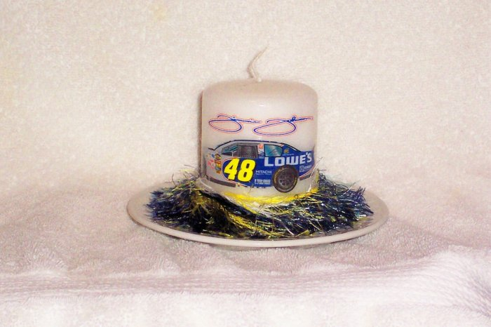 Jimmy Johnson Decorated Candle on Matching Holder