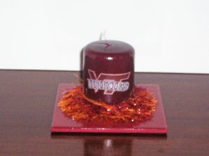 Hand Decorated Virginia Tech Hokies Candle