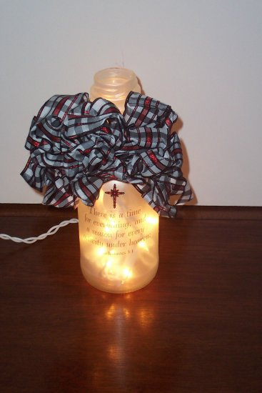 Lighted Glass Bottle Decorated with Scripture