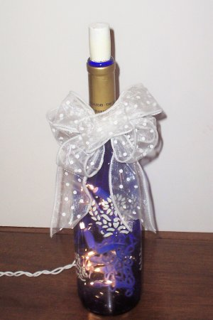 Lighted Blue Wine Bottle