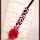 Pacifier Clip - Pink Leopard ribbon with flower