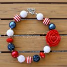 4th of July Flower Chunky Beaded Necklace Bubble Gum Beads