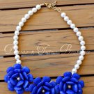 Blue Flower Beaded Necklace