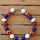 Red White Boom Chunky Beaded Necklace Bubble Gum Beads