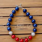 Red White & Blue Chunky Beaded Necklace Bubble Gum Beads