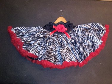 Black/Red Zebra Pettiskirt 10-12yrs