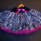 Black/Hot Pink Zebra Pettiskirt 12yrs - up