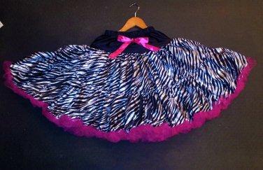Black/Hot Pink Zebra Pettiskirt 12yrs - up